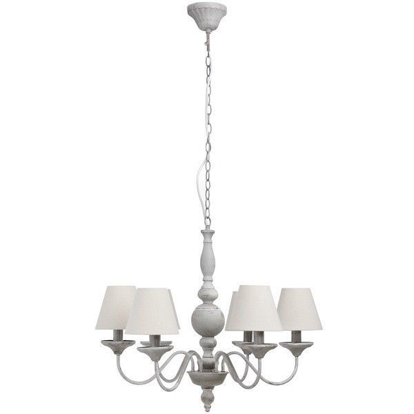 shabby grey chic metal 6 arm chandelier with shades ceiling light